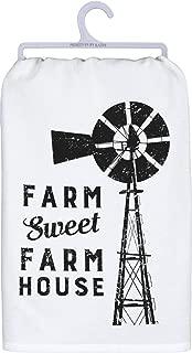 Primitives by Kathy Black and White Cotton Dish Towel, Farm Sweet Farm House