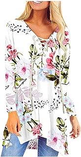 Women's Hallowen Costumes HAALIFE◕‿ Pullover Sweatshirts for Women Long Sleeve Floral Print Asymmetrical Hemline Flowy Tunic