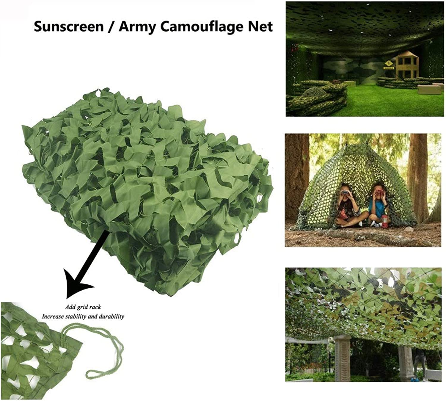 Oxford Camo Netting,Blinds Awning Camouflage Army Green Net Sunscreen Shade Tarpaulin Sunshade Tent Hunting Hidden Desert Cover Woodland Military Mesh,for Kid Camping Shooting Fishing Decoration