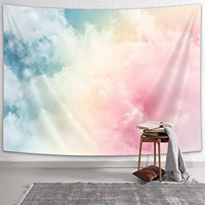 NYMB Girly Tapestry Backdrop for Teens Room Bedroom, Cute Tapestry Wall Hanging Pastel Rainbow Pink Blue Yellow White Colorful Cloud Tapestries, Teen Girls Room Wall Hanging Tapestry Home Decor
