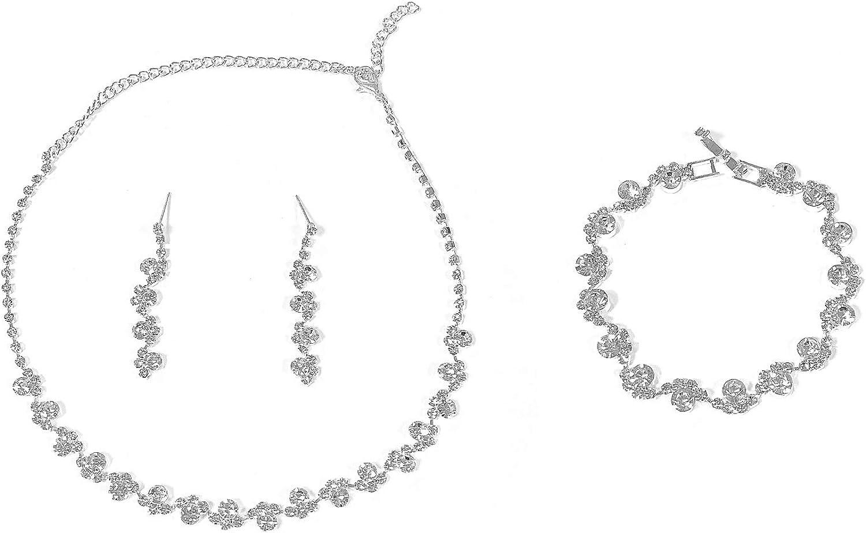 COLORFUL BLING Elegant Luxury Crystal Rhinestone Necklace Earrings Bracelet Jewelry Set Wedding Bridal for Women Girls Wedding Prom
