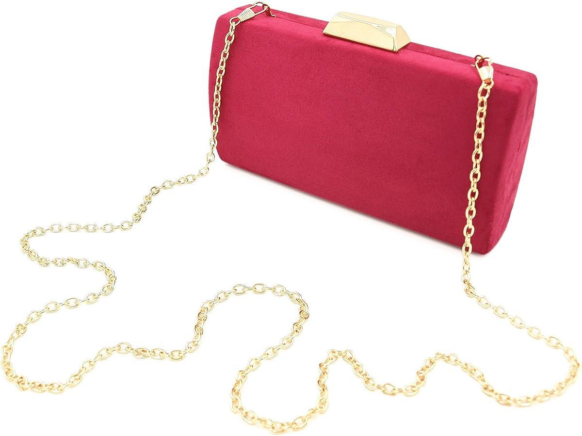 Elegant Solid Color Suede Felt Hard Clutch Evening Bag Handbag
