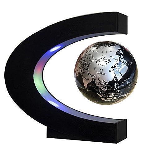 EASY EAGLE 3 Pouces Globe Teresstre Magnétique Lévitation Rotatif Lumineux Cadeau de Fête Décoration Maison Bureau Chambre, Noir