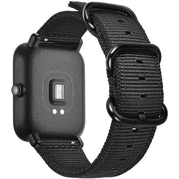 for Amazfit Bip Bands,ViCRiOR Premium Soft NATO Woven Nylon Quick Release Replacement Strap Watch Band for Huami Amazfit Bip, Amazfit Bip lite, Amazfit GTS, Black