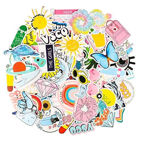 Gitua 100 Stück Aufkleber Mädchen, Wasserdicht Vinyl VSCO Stickers für Auto Motorrad Fahrrad Skateboard Koffer Laptop PS4 und Mehr (Gelb)