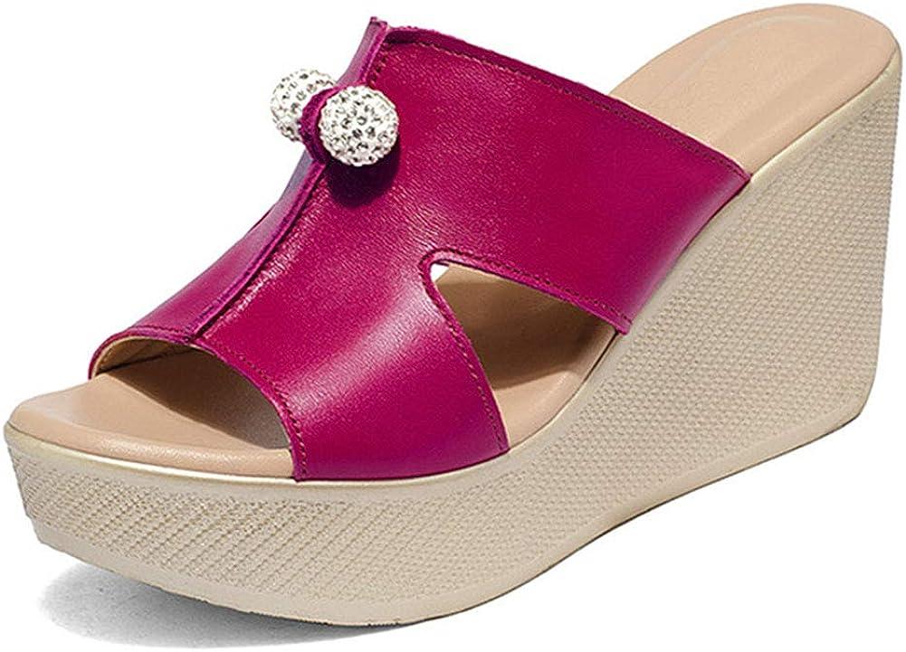 fereshte Women's Platform Max 77% OFF Slide Sandals Ba Rhinestone Wedge 2021 new Heel