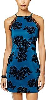 45d58504e Trixxi Juniors' Velvet-Print Bodycon Dress (Teal/Black, Size ...