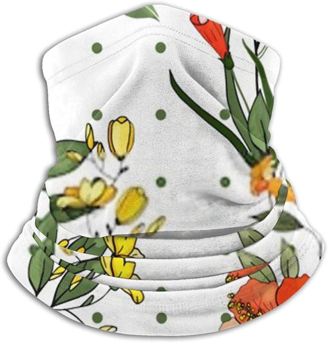Lastbest Botanical Motifs Isolated Flower Floral Neck Warmer Multifunction Scarf Hat Neck Gaiter Neck Cap Bala Windproof Neck Heating Wrap Outdoor Sports