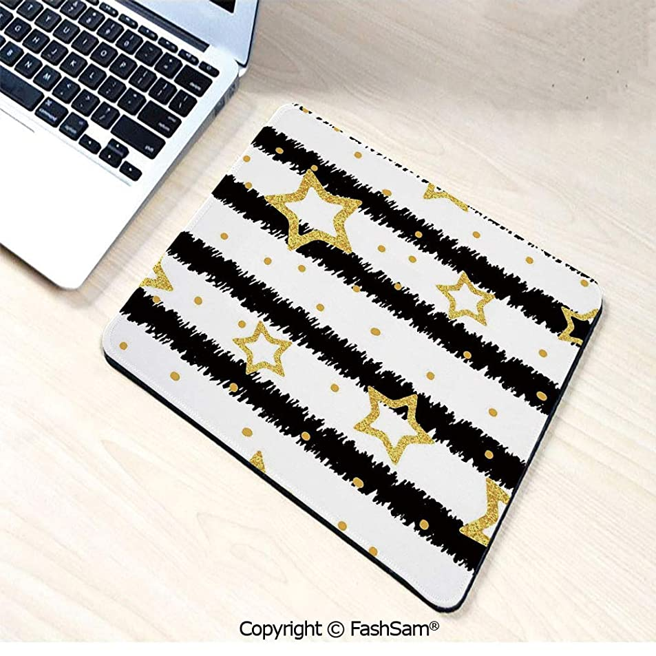 Mouse Pads Golden Stars and Dots with Digital Effect on Striped Pattern Celebration Theme for Home(W9.85xL11.8) wtuilzal3037
