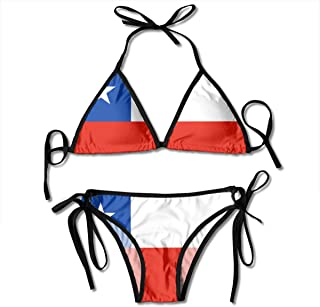 Flag of Chile Patterned Printed Female Ladies Women Girl Summer Beach Dress Bikini Two-Piece Swimsuit Adult Costume Bathing Suit Apparel Black