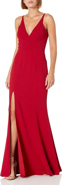 Dress the Population Women's Iris Spaghetti Strap Plunging Long Dress, Garnet 17, X-Small