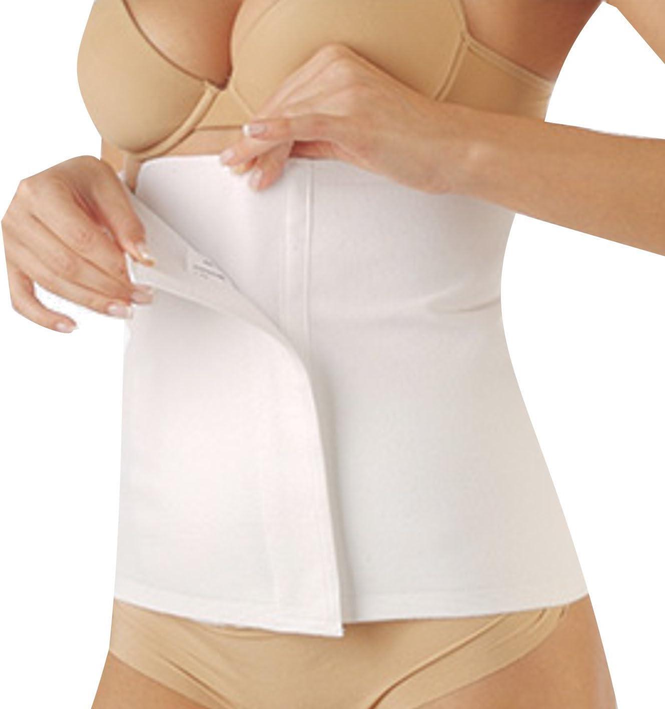 Faja elástica contenitiva unisex para hombre y mujer, banda postoperatoria y postparto, cinturón térmico de algodón para protección abdominal y lumbar, ajustable y cierre de velcro – (blanco, 1/XS)