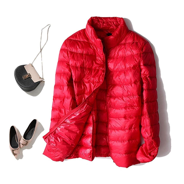 ダウンジャケット レディース あったか 暖かい アウター コート ジャケット 上着 秋 冬 服 軽量 薄手 ライト ダウン 羽毛 フェザー 防寒 ギフト 黒 白 赤