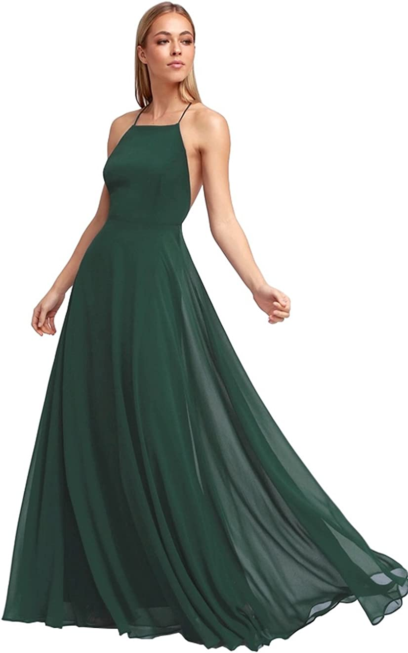 Women's Halter Super special Industry No. 1 price Chiffon Long Evening Prom P Formal Dress Backless