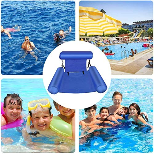 Inflatable Pool Floats, Foldable Backrest Inflatable Floating Bed Float Lounge Floating Row Floating Rafts Water Chair Pool Chairs (Ocean Blue)