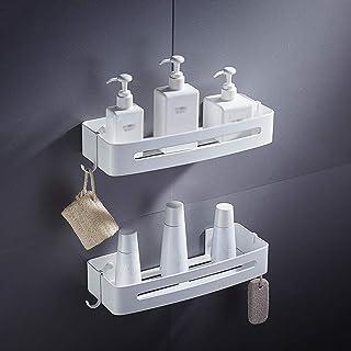 BuyBuyBuy étagère de douche blanche étagère d'angle de salle de bain 2 niveaux antirouille espace aluminium support de dou...