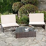 Melko vielseitiges Gartenmöbel-Set – Sonnenliege, Sitzbank oder zwei Stühle mit Rückenlehne, mit Tisch und Platte aus Sicherheitsglas, aus Polyrattan, robust und wetterfest, braun