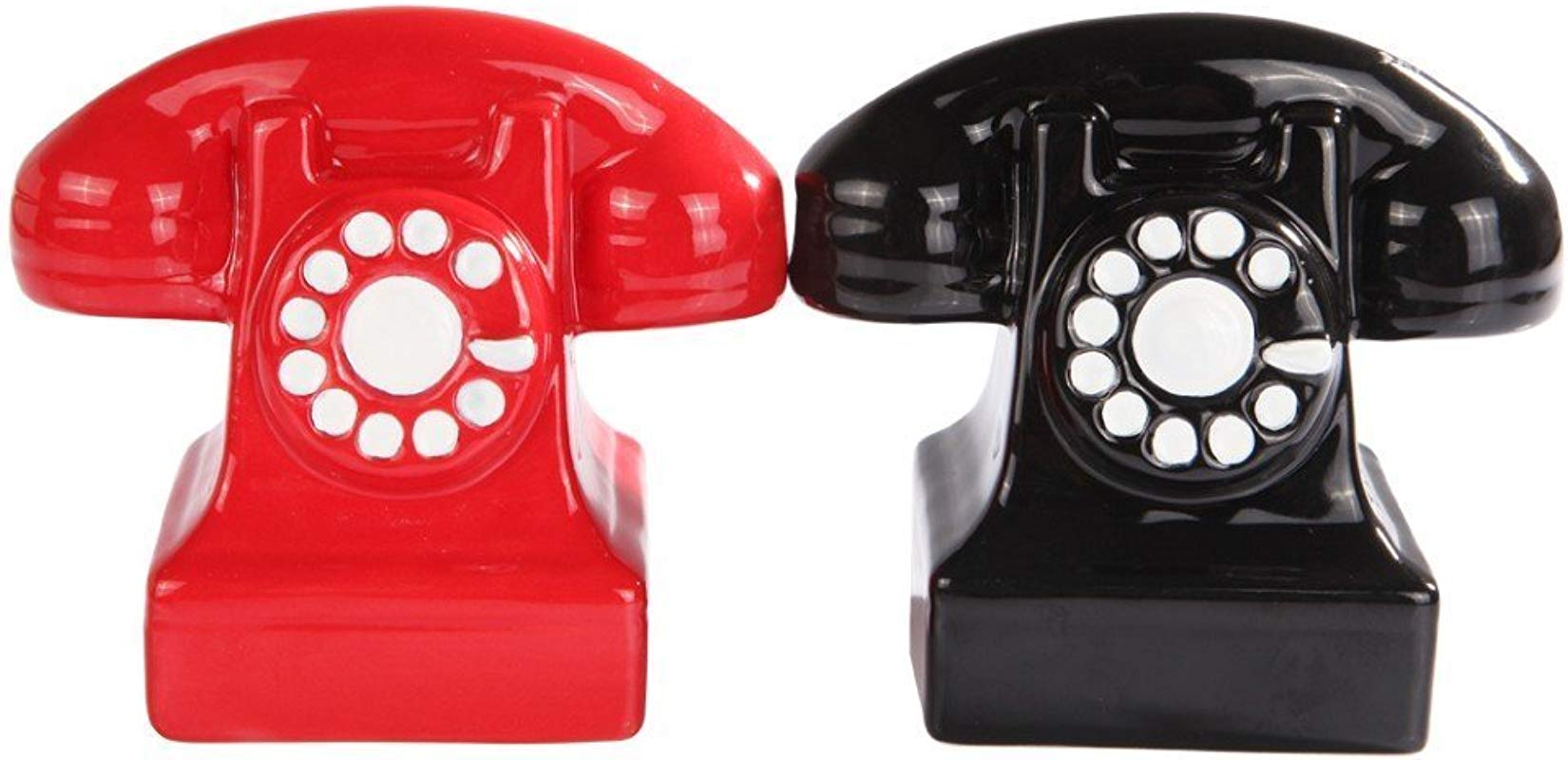 Attractives Magnetic Ceramic Salt Pepper Shakers Retro Phones Old Fashioned