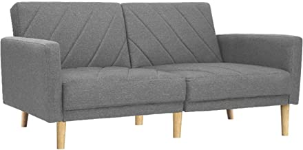 Artiss 195cm Length Fabric Lounge Sofa Bed, Light Grey