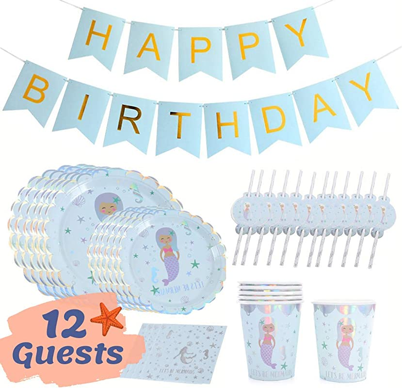 Onebttl Mermaid Party Supplies Mermaid Birthday Party Decorations For Girls Happy Birthday Banners Plates Napkins Cups Straws 12 Pieces Set Silver