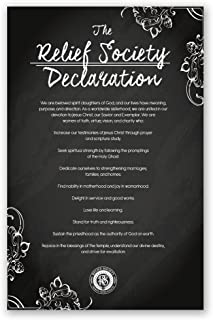 LDS Relief Society Declaration Poster - Chalkboard Style - 11x17 Inch
