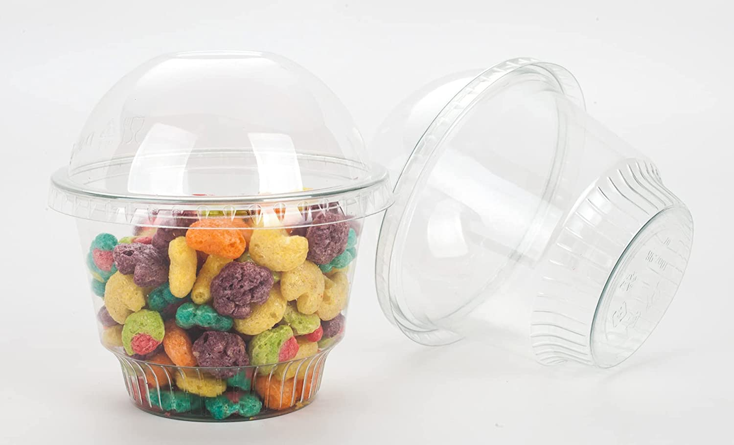 GOLDEN APPLE, 10oz-30sets Clear Plastic Cups for Ice Cream, Dessert Cups, Snack Bowl with Dome lids no Hole