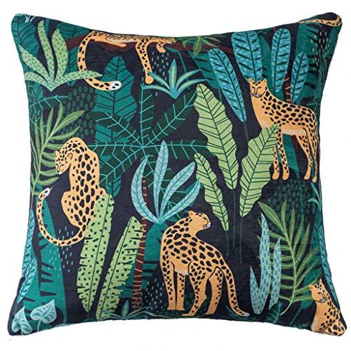 GUMEI Funda de cojín de Chenilla Pastoral, Funda de Almohada con Estampado de Leopardo de la Selva Colorida, decoración