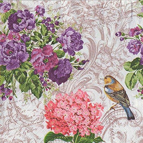 DECORLINE -20 Serviettes en Papier ' Charming Garden '- 33x33 cm-3 Plis