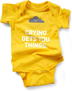 Wrybaby Funny Baby Bodysuit | Crying Gets You Things | Yellow, 0-6M