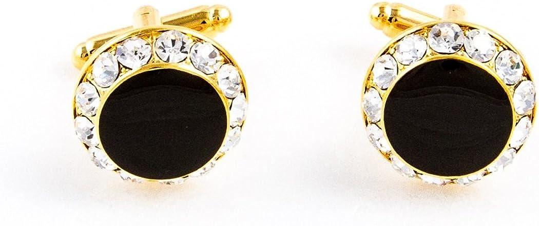 MRCUFF Black Onyx Round Crystal Tuxedo Cufflinks & Studs Set in a Presentation Gift Box & Polishing Cloth