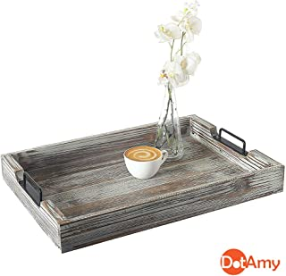 Rustic Wood Serving Tray - Modern Farmhouse Tray with Handles in Vintage Whitewash Distressed Decor. Each Decorative Tray is Unique and One-of-a-Kind!