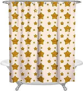 NAHML-111 Golden Star Patterns 3D Printing Fashion Bathroom Shower Room Wash Bath Block Shower Curtain