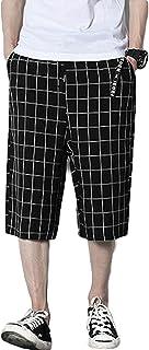 PRADRD メンズ 夏 ワイドパンツ 7分丈 チェック柄 クロップドパンツ カジュアル ウエストゴム 短パン 夏 メンズショートパンツ ストリート