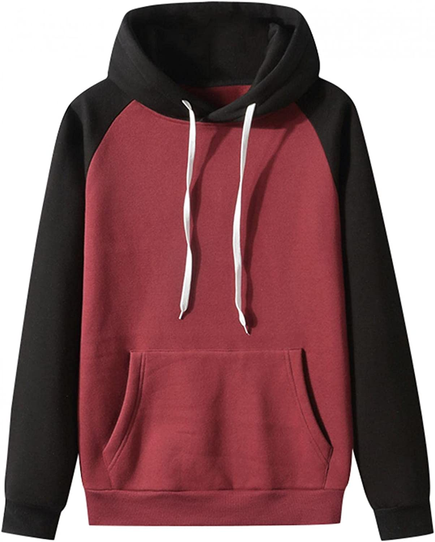 Hoodies for Men Mens Autumn Slim Casual Patchwork Hooded Long-sleeve Sweatshirt Top Blouses Fashion Sweatshirt Hoodies