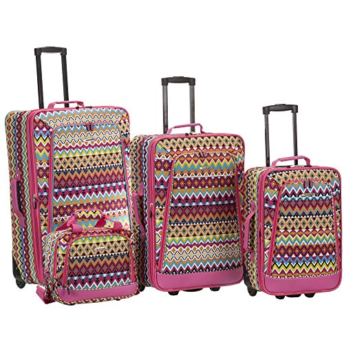 Rockland Escape 4-Piece Softside Upright Luggage Set, Tribal, (14/19/24/28)