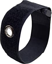 Reclosable Velcro Wrap with Metal Mounting Eyelet | 8 Inch | Black | 6 Pack