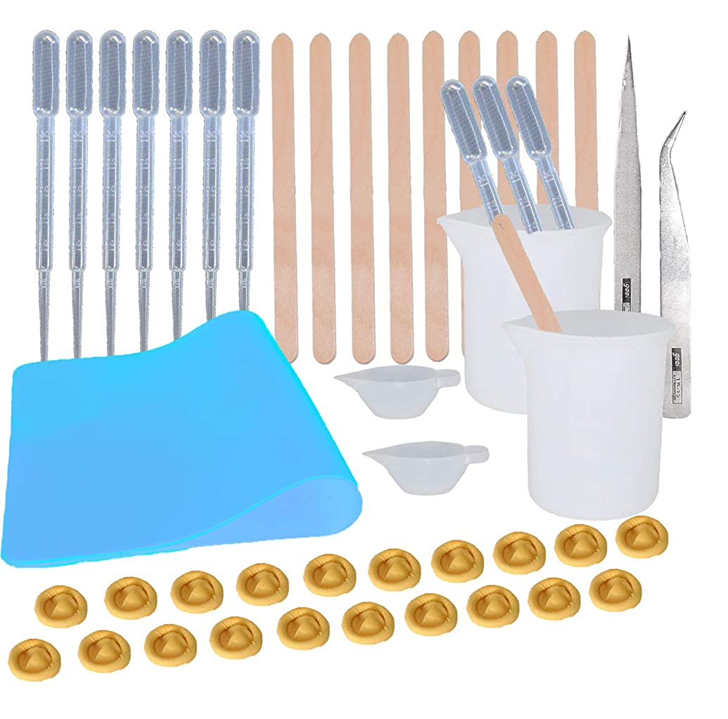 Epoxy Resin Tools Kit- 1pc Blue A4 Silicone Sheet, 2pcs 100ml Silicone Measuring Cups, 2pcs Silicone Mixing Cups, 2pcs Tweezers with Mixing Sticks,Dropping Pipette, Finger Cots
