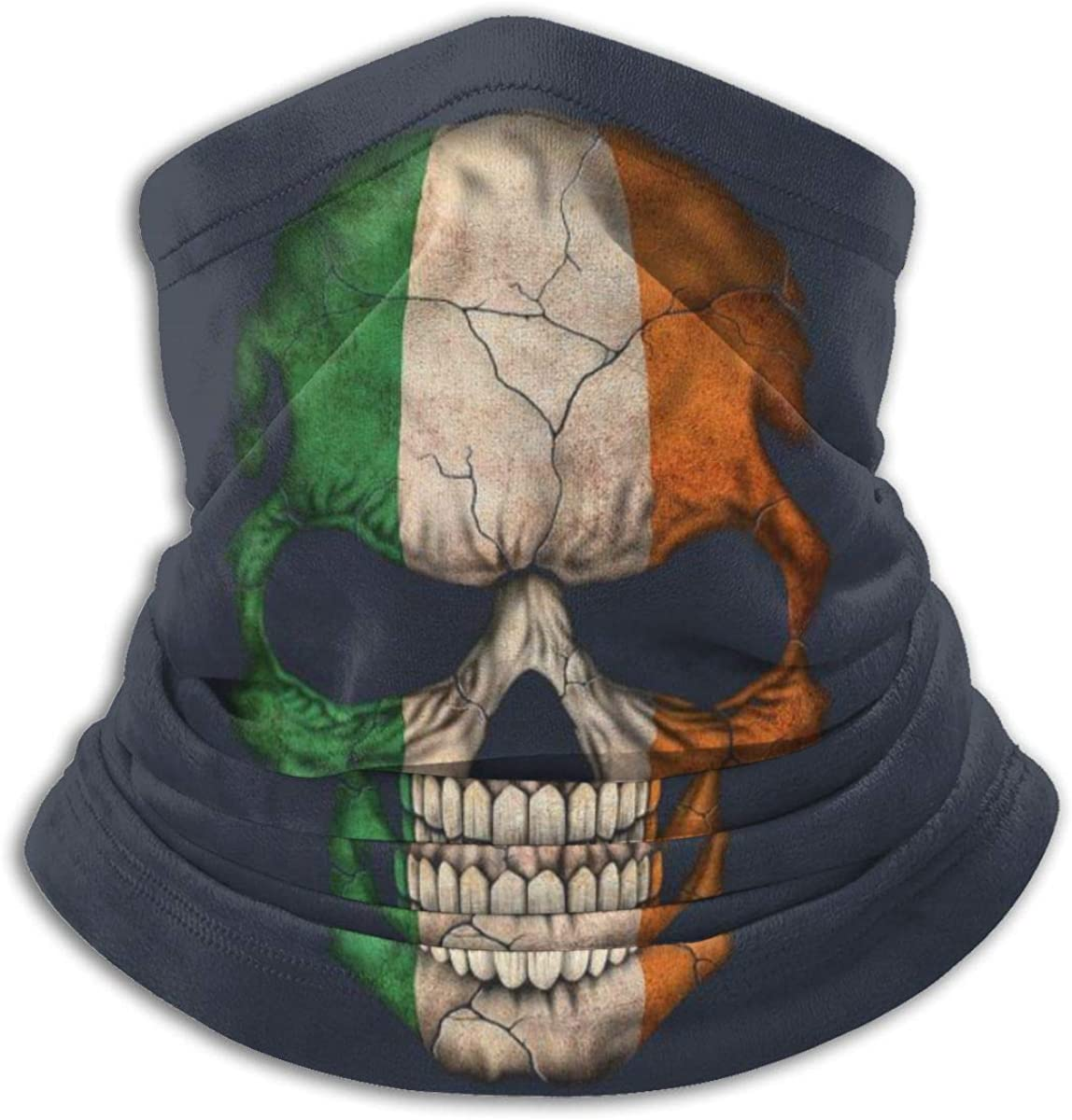 Carwayii Irish Flag Skull Neck Warmer Windproof Comfy Face Cover Mask Balaclava Breathable Lightweight Mouth Cover Multifunctional Soft Bandanas for Men Women