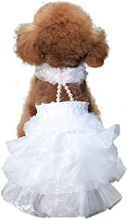 WORDERFUL Dog Wedding Dress Bride Outfit with Pearl Necklace and Rose Pet Princess Formal Apparel for Puppy Cat