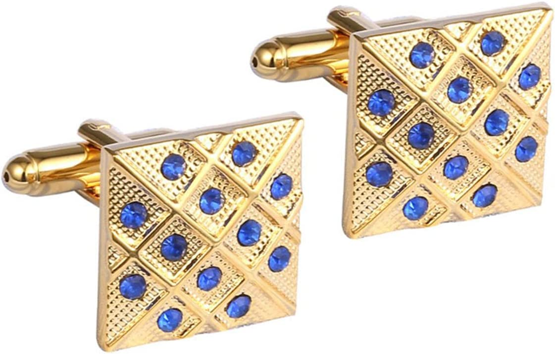 BO LAI DE Men's Cufflinks Gold Square Cufflinks with Blue Crystals Cufflinks Shirt Cufflinks Suitable for Business Meetings and Prom Events, with Gift Box