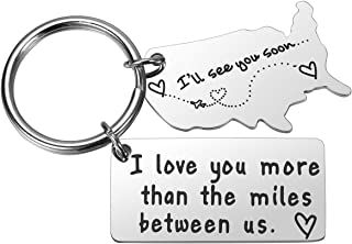 I Love You More Than The Miles Between Us Long Distance Boyfriend Gifts Relationship Keychains State Keychain