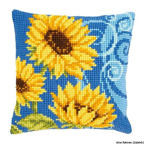 Vervaco PN-0021825 kruissteken kussen zonnebloemen, blauw