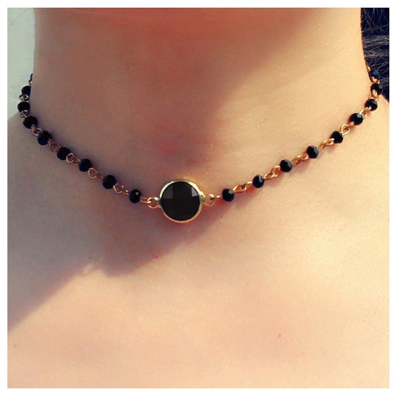 TseanYi Rainbow Moonstone Necklace Choker Tiny Crystal Necklace Chain Short Opal Chain Necklace Jewelry for women and Girls (Black)
