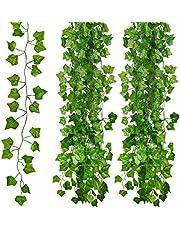 Kunstmatige Klimop Leaf klimop slinger kunstmatig, 12 Pack Fake Ivy Garland, nep planten voor thuis, kantoor, tuin, Kerstmis, bruiloft binnen, outdoor & esthetische kamer decoraties.