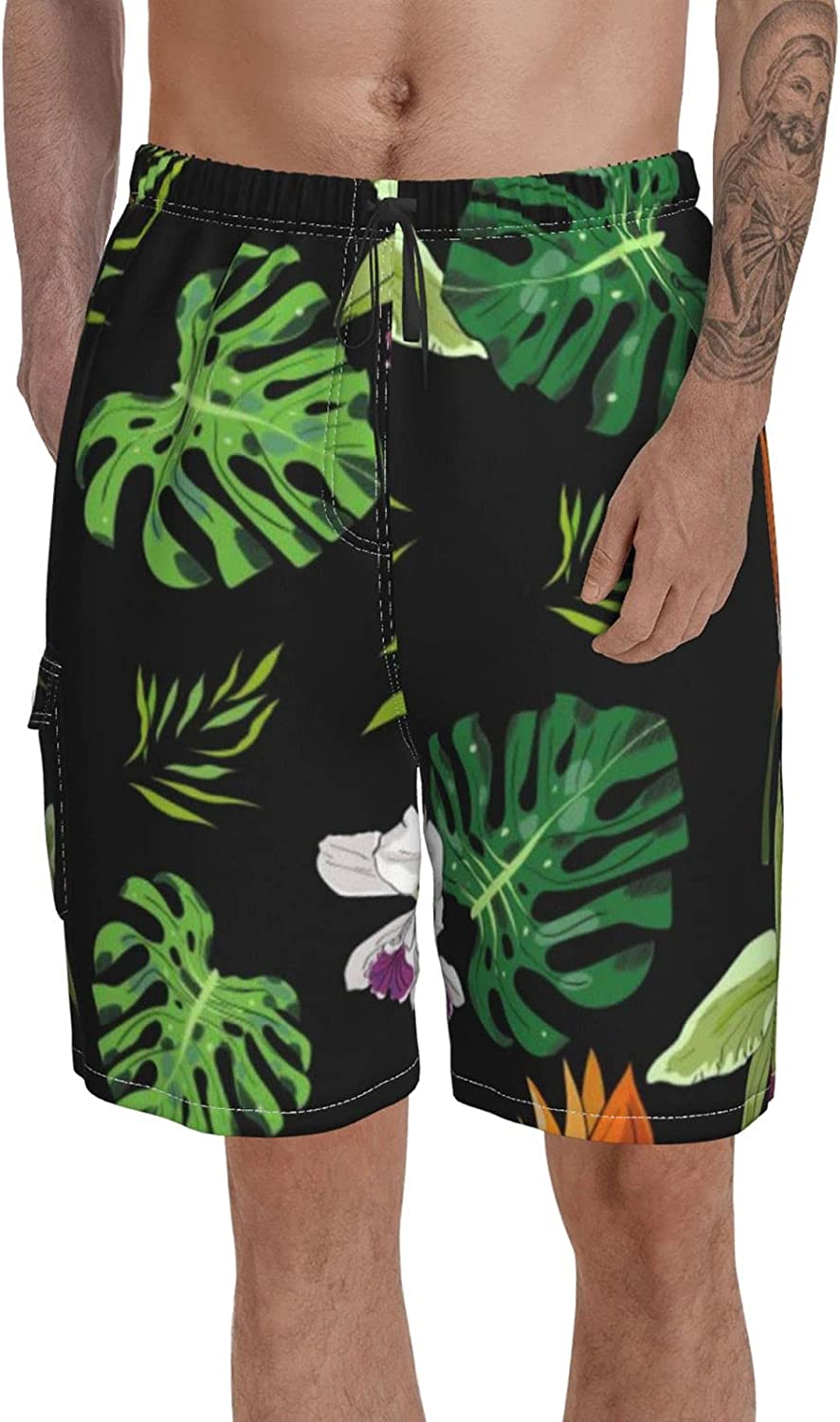 Big and Tall Swim Trunks for Men Print Swimming Short Hand Drawn Watercolor Bathing Suits Mid Length