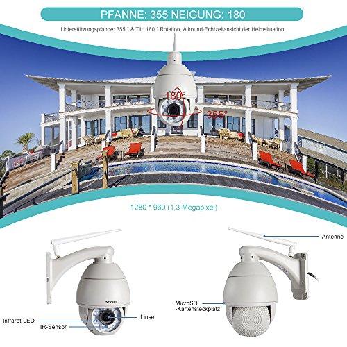 Sricam Netzwerkkamera HD 720p, WiFi, Camcorder Kameras innen, WLAN P2P IR, Nachtsicht, Bewegungserkennung PTZ Mini CCTV-Kamera mit Mikrofon und Lautsprecher für Haus, Kinder, Haustiere, Weiß