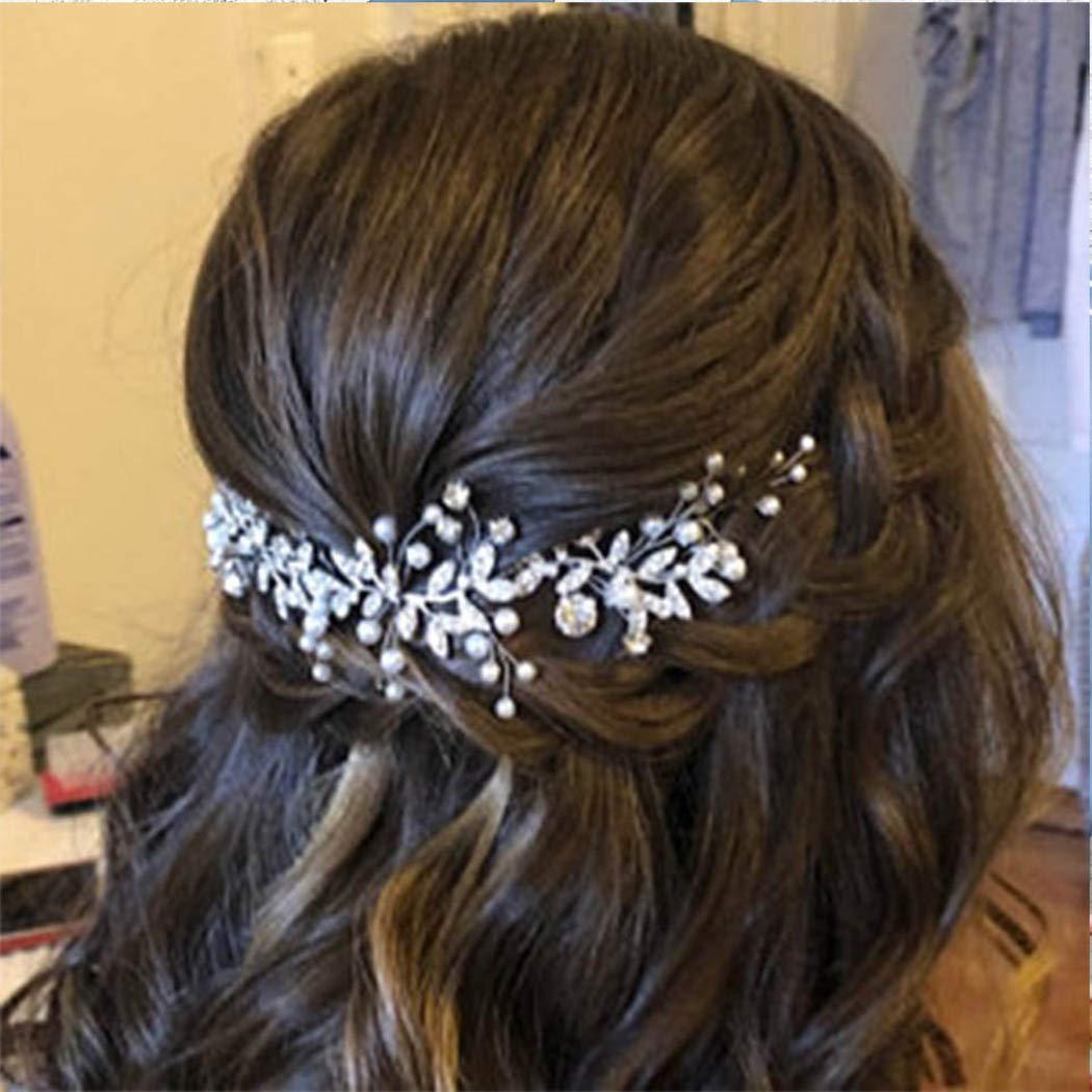 Unsutuo Crystal Bridal Headband Rhinestone Silver Leaves Max 72% OFF Max 89% OFF Wedding