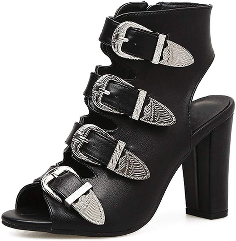 High Heels Women Sandals Buckle Side Zipper Super High Block Heels Hollow Peep Toe shoes