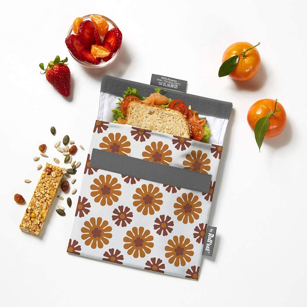 Rolleat SnacknGo Patchwork Naranja Bolsa Merienda Porta Sandwich Reutilizable y Ecol/ógico sin BPA