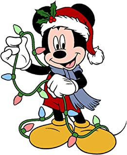 One Stop Decals Disney Mickey with Christmas Lights. Christmas and Holidays Static Cling Decoration for Windows, Mirrors or Polished Metal Surfaces. (8